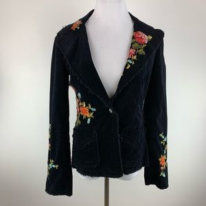 Johnny Was black corduroy embroidered blazer sz S